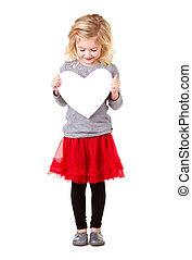 Little girl holding heart - Little girl holding white heart,...