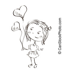 little girl holding hearts