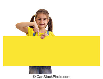 Little girl holding long yellow empty banner at white background