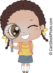 Little Girl holding Magnifying Glass 2