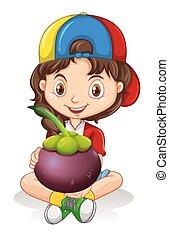Little girl holding mangosteen