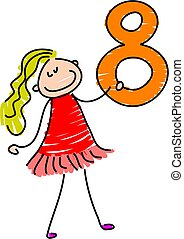 number eight - little girl holding number eight - toddler...