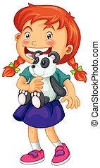 Little girl holding panda bear