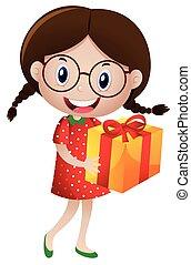 Little girl holding present box