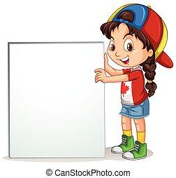 Little girl holding sign