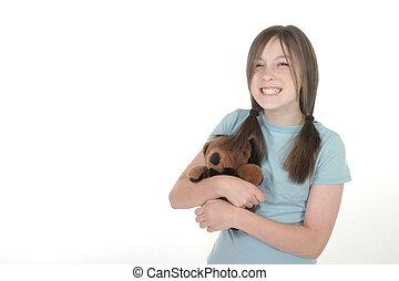 Little Girl Holding Teddy Bear 1