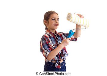 Little girl holding white roll