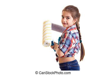Little girl holding white rolls