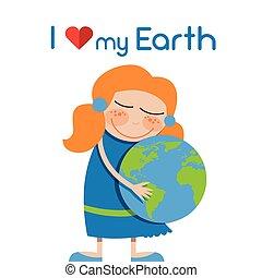 Little Girl Hug Globe Embrace Earth Day Love