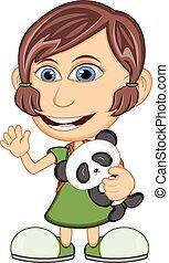 Little girl hugging a stuffed panda