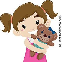 Little Girl Hugging her Teddy Bear - Vector Illustration of...