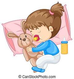 Little girl hugging rabbit in bed illustration