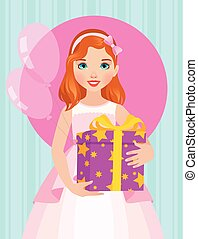 Little girl in a beautiful dress is holding a box of birthday gift