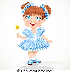 Little girl in a blue ballet tutu