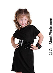 Little girl in a fashionable black dress