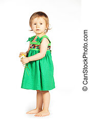 Little girl in a green dress