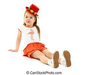 Little girl in a hat.