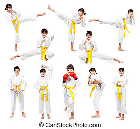 little girl in a kimono with a yellow sash on a white ...