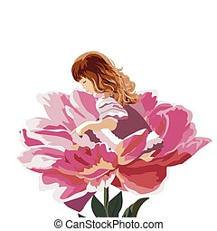 Little girl in a pink peony flower
