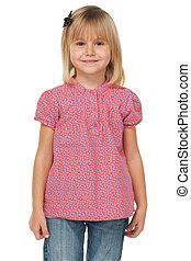 Little girl in a polka dot shirt
