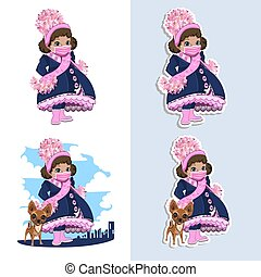 A little girl in a protective mask walks with a dog. A set of stickers. Vector illustration on a white background.
