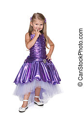 Little girl in a purple dres