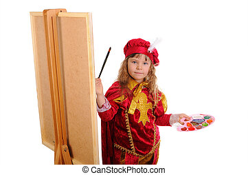 Little girl in a red historical suit with a brush and paints near an easel. Isolated on white