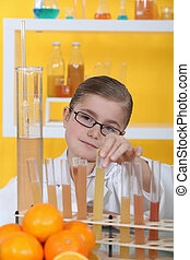 little girl in a research laboratory
