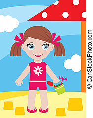 Little girl in a sandbox with a buc - Vector illustration,...
