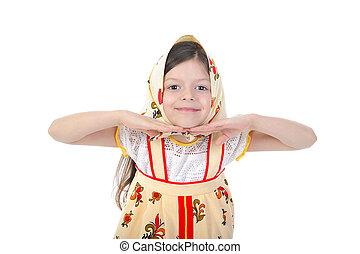 Little girl in a scarf dance