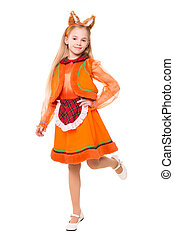 Little girl in a squirrel dress