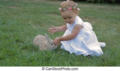 little girl in a white dress stroking the rabbit