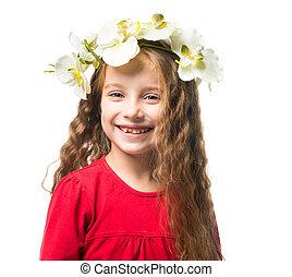little girl in a wreath