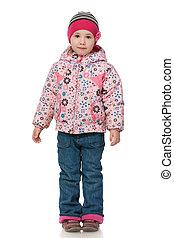 Little girl in autumn clothing