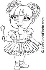Little girl in ballet tutu and magic wand outlined