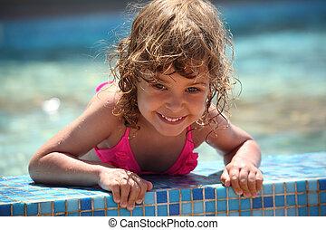 little girl in basin