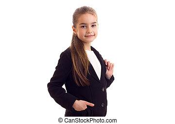 Little girl in black jacket