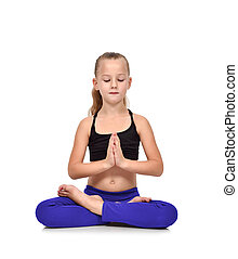 girl in blue clothing sitting lotus position