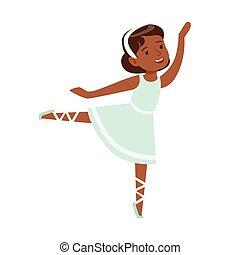 Little Girl In Blue Dress Dancing Ballet In Classic Dance ...