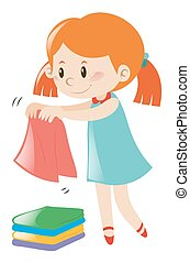 Little girl in blue dress folding clothes