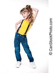 Little girl in blue jeans