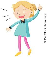 Little girl in blue shirt illustration