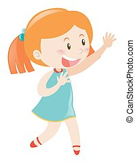 Little girl in blue smiling