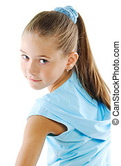 Little girl in blue sportswear - Little girl beauty portrait