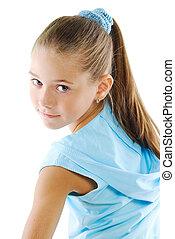 Little girl in blue sportswear - Little girl beauty portrait