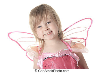 Little girl in butterfly costume on white background