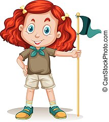 Little girl in camping outfit illustration