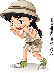 Little girl in camping outfit shouting illustration