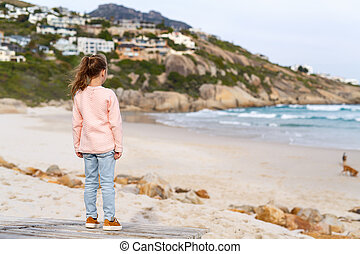Little girl in Cape Town - Back view of adorable little girl...