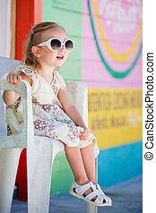 Little girl in Caribbean town